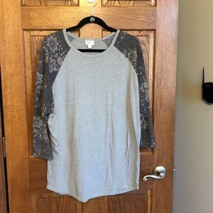 Lularoe Heather Gray Floral Sleeve Randy NWOT